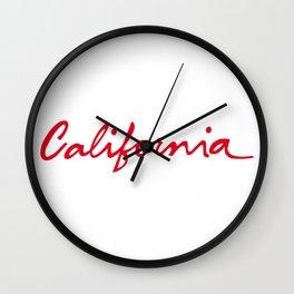 California License Plate Font Palm Trees Sunset Beach Wall Clock