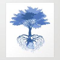 Heart Tree - Blue Art Print