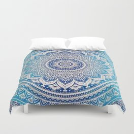 Teal And Aqua Lace Mandala Duvet Cover