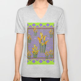 Lime Trellis Lilac Diamonds Calla Lilies Unisex V-Neck