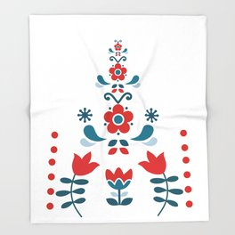 Retro Nordic Folk Throw Blanket