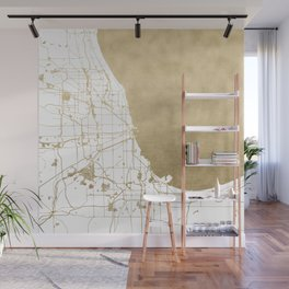 Chicago Gold and White Map Wall Mural