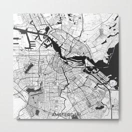 Amsterdam Map Gray Metal Print