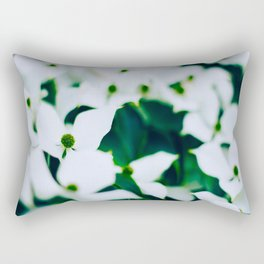 Bouquet Of White Flowers With Blurry Edit Rectangular Pillow
