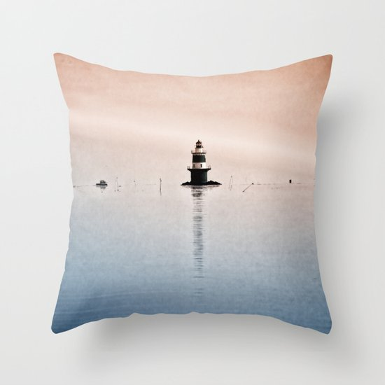 Fishing Near The Lighthouse Throw Pillow
