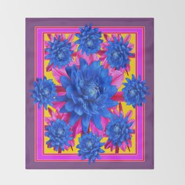 Decorative Puce Fuchsia Color Blue Tropical Flowers Pattern Throw Blanket