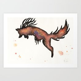 Red Nebula Fox Art Print