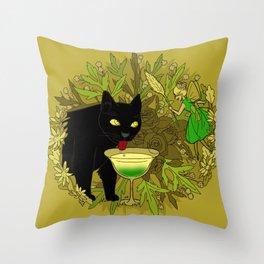 cat and green milk Throw Pillow
