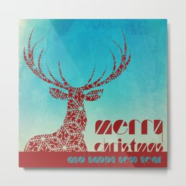 Merry Christmas and Happy New Year, Red Reindeer Metal Print