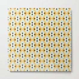 Geometric Tribal Yellow Pattern Metal Print