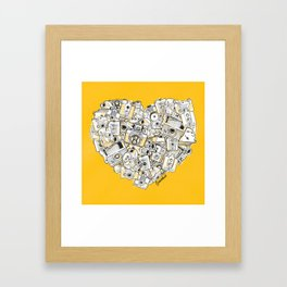 Camera Heart - on yellow Framed Art Print