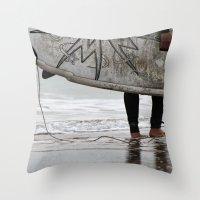 surfboard Throw Pillows featuring Surfboard 2 by Becky Dix