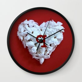 Red Monogrammed Heart Q Wall Clock