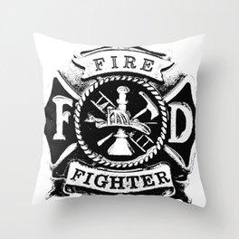 Fire Fighter Badge Throw Pillow