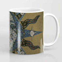 Vintage Celestial Mosaic Sun & Moon Coffee Mug