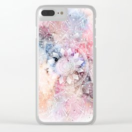 Whimsical white watercolor mandala design Clear iPhone Case