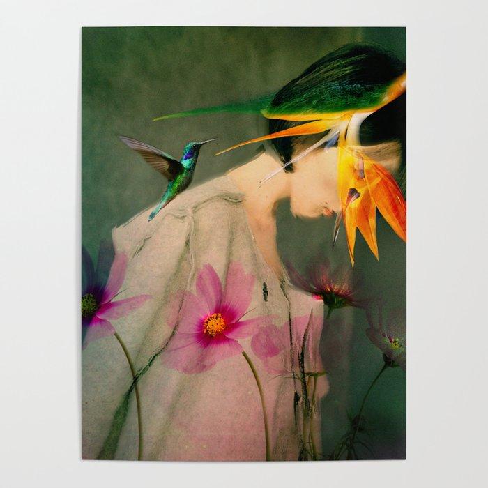 Woman between flowers / La mujer entre las flores Poster