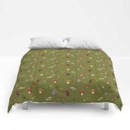 Pixel Mushrooms on Green Comforters