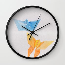 Origami-boat and butterfly Wall Clock
