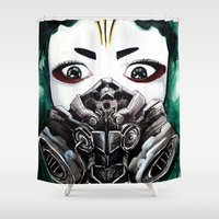 cyberpunk Shower Curtains featuring Cyberpunk Kyoshi Warrior by SmidgenSpunks