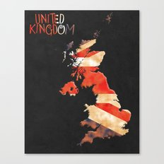 United Kingdom Vintage Map Canvas Print