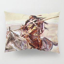 """""""Indian With Spear """" by Charles M Russell Pillow Sham"""