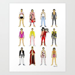 Outfits of Freddie Fashion Art Print