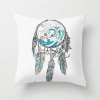 dream catcher Throw Pillows featuring Dream Catcher by Huebucket