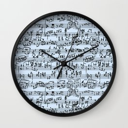 Hand Written Sheet Music // Light Blue Wall Clock