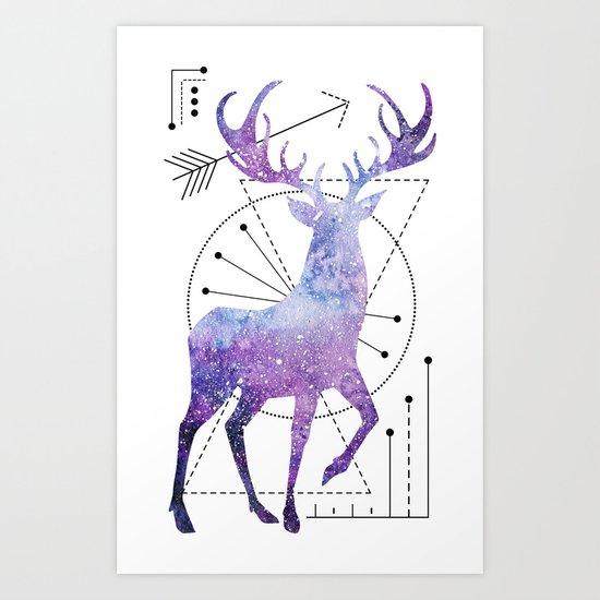 Ethnic deer and space Art Print