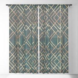 Dark Teal Geo Sheer Curtain