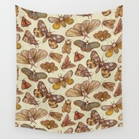 moth Wall Tapestries featuring Moth Pattern by Kate O'Hara Illustration