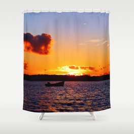 Anchored to Buoy at Dusk Shower Curtain