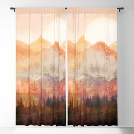 Forest Shrouded in Morning Mist Blackout Curtain
