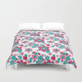 Pink Raspberry Aqua Blue Floral  Duvet Cover