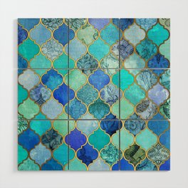 Cobalt Blue, Aqua & Gold Decorative Moroccan Tile Pattern Wood Wall Art