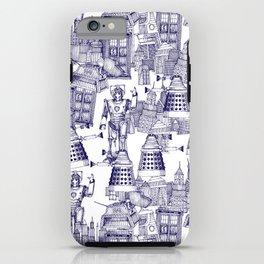 Doctor Who Toile de Jouy | 'Walking Doodle' | Blue iPhone Case