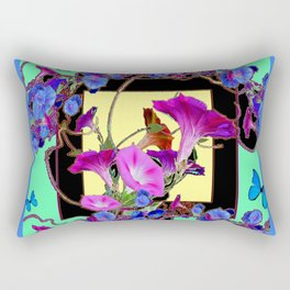 Blue Morning Glories Butterfly Patterns black Art Rectangular Pillow