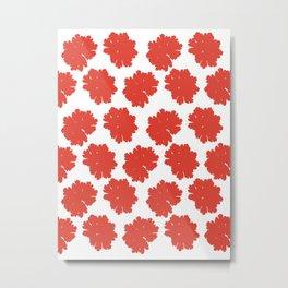 Red Flower Pattern #2 #Grenadine #floral #decor #art #society6 Metal Print