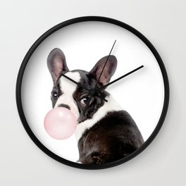 French Bulldog Puppy Blowing Pink Bubble Gum (sw) Wall Clock