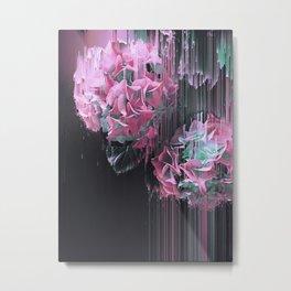Glitch Pink Hydrangea Metal Print