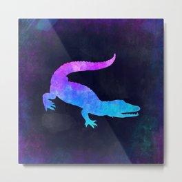 CROCODILE IN SPACE // Animal Graphic Art // Watercolor Canvas Painting // Modern Minimal Cute Metal Print
