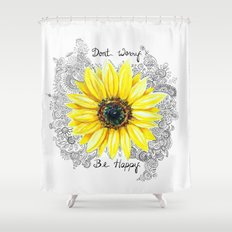 Don't Worry, Be Happy Sunflower Shower Curtain