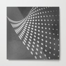 Halftone Flowing Swerve in Charcoal Gray Metal Print