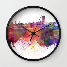 Johannesburg skyline in watercolor background Wall Clock