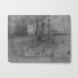View of a Haunted Forest Through an Icy Window Metal Print