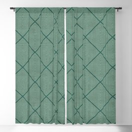 Stitched Diamond Geo Grid in Green Blackout Curtain