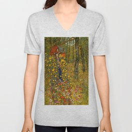 "Gustav Klimt ""Farm Garden with Crucifix "" Unisex V-Neck"