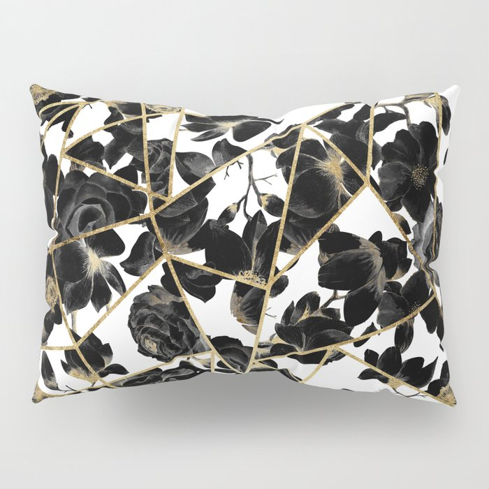 Geometric Abstract Black Floral Gold Triangles Pillow Sham