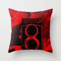 vintage camera Throw Pillows featuring Camera by short stories gallery